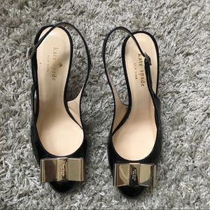 🎀 SZ 7 Kate Spade Black Patent Gold Bow Slingback